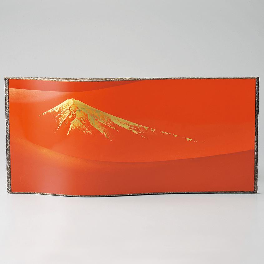 パネル 赤富士 赤 【送料無料】 漆塗り・木製