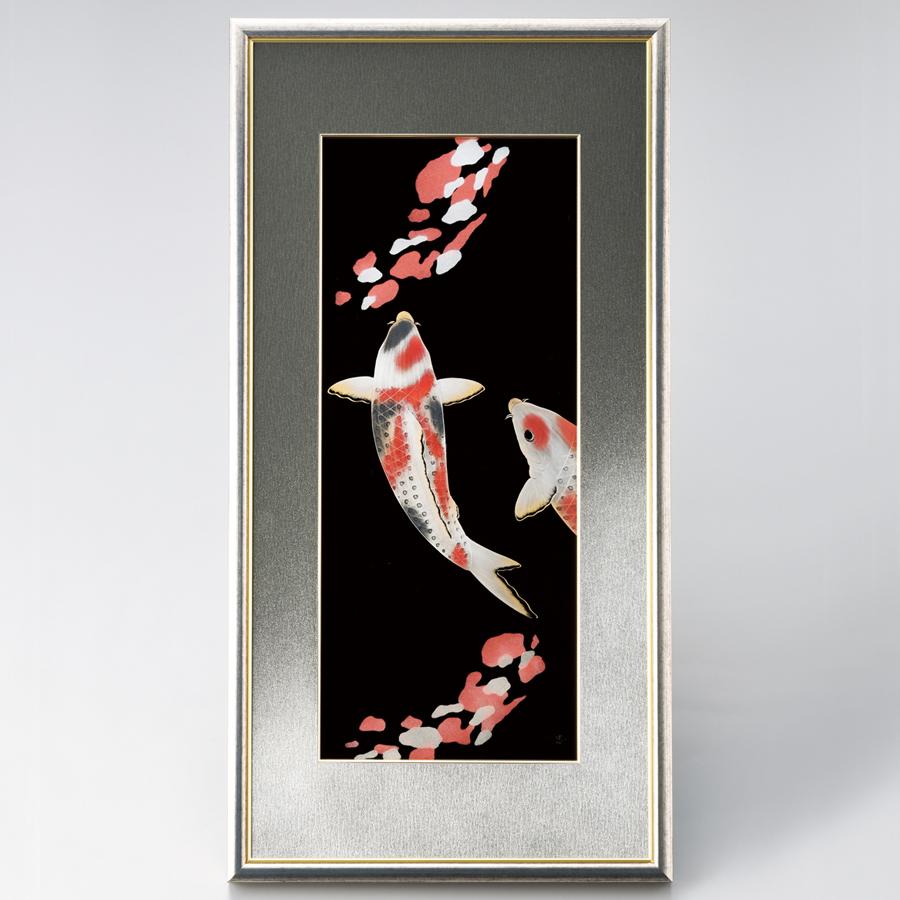 パネル 彩り鯉 【送料無料】 漆塗り・木製
