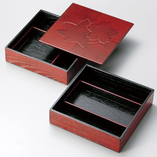 二段オードブル重 色紙春秋布張 根来 7寸 【送料無料】 木製