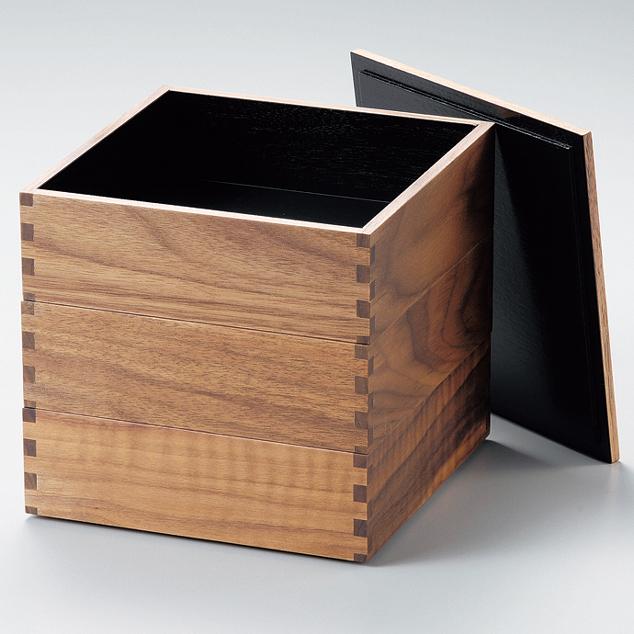 三段重 ウォールナット 内黒 6寸 【送料無料】 木製