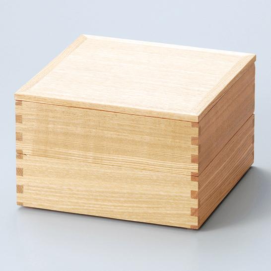 二段重 白木塗タモ 内朱 6寸 【送料無料】 木製