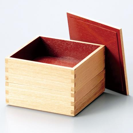 二段重 白木塗タモ 内朱 5寸 【送料無料】 木製