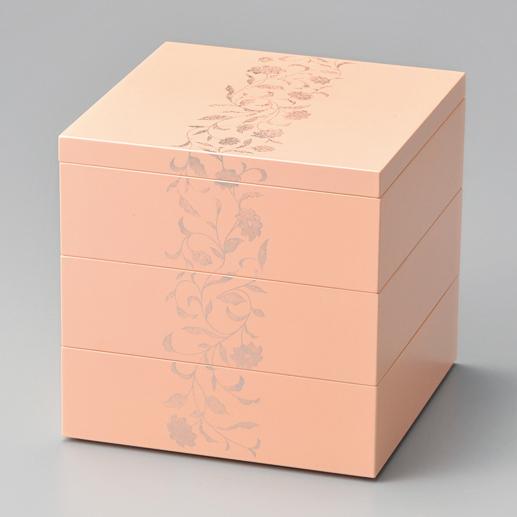 三段重箱 アールデコ ピンク 5.5寸 【送料無料】