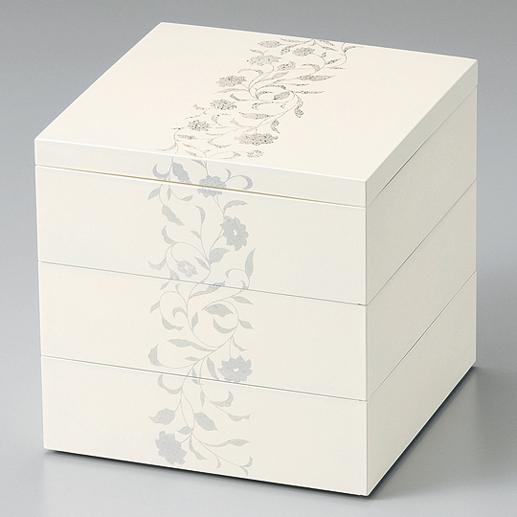 三段重箱 アールデコ ホワイト 5.5寸 【送料無料】