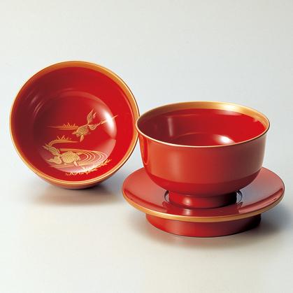 杯洗(盃洗)セット 金魚 朱 【送料無料】 木製 漆塗り
