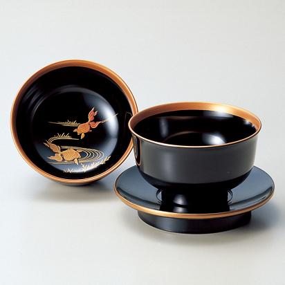 杯洗(盃洗)セット 金魚 黒 【送料無料】 木製 漆塗り