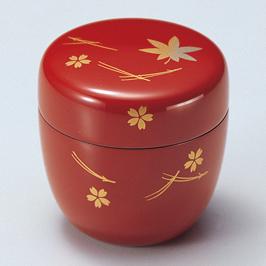 中棗 吹き寄せ 朱 漆塗り お茶道具