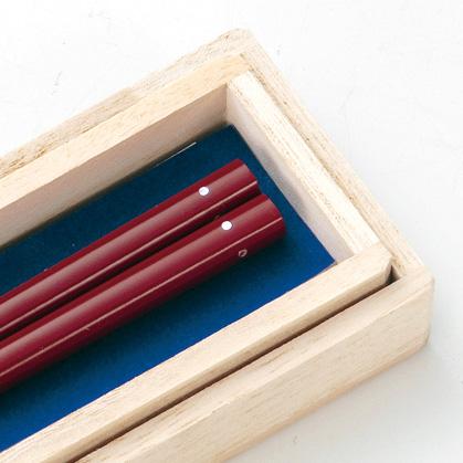 螺鈿 一番星 箸 朱  漆塗り・木製