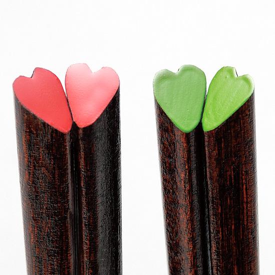 子供 ハート箸 緑/ピンク  漆塗り・木製