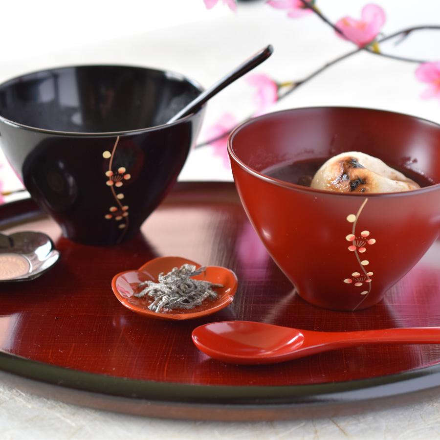 夫婦汁椀 梅 黒・古代朱 漆塗り ペアのお椀・味噌汁椀