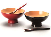 >漆器ふっくらペアスイーツカップ スプーン付き 京都 漆器の井助 漆塗りのペアのデザートカップ