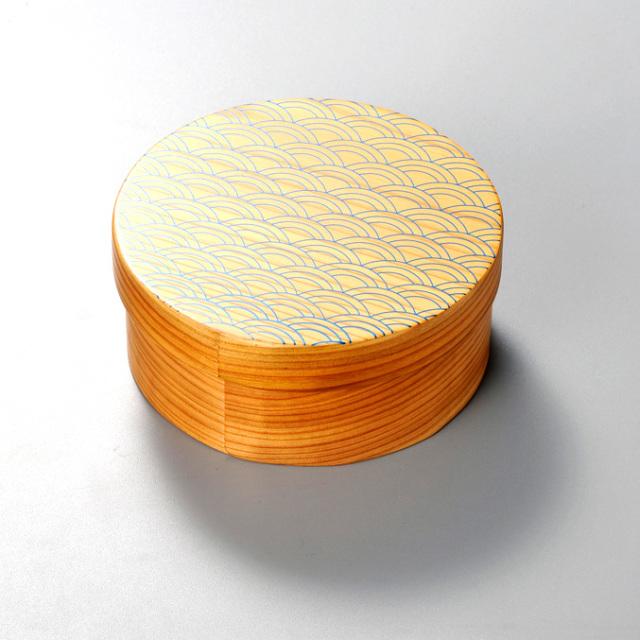 青海波 日本の弁当箱 丸 【送料無料】 木製