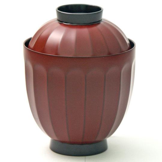 菊割小吸椀 古代根来 5客セット 【送料無料】 漆塗り
