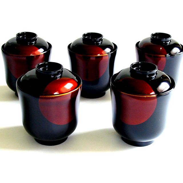 小吸物椀 日月白檀 5客セット 【送料無料】 漆塗り 京都 漆器の井助 蓋付きのお椀