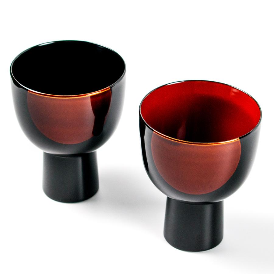 ペアカップ 日月白檀 漆塗り 漆器の井助