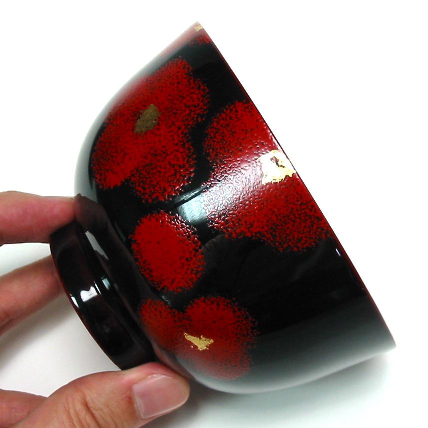 夫婦椀 紅白華 【送料無料】 木製 漆塗り ペア 木のお椀・味噌汁椀