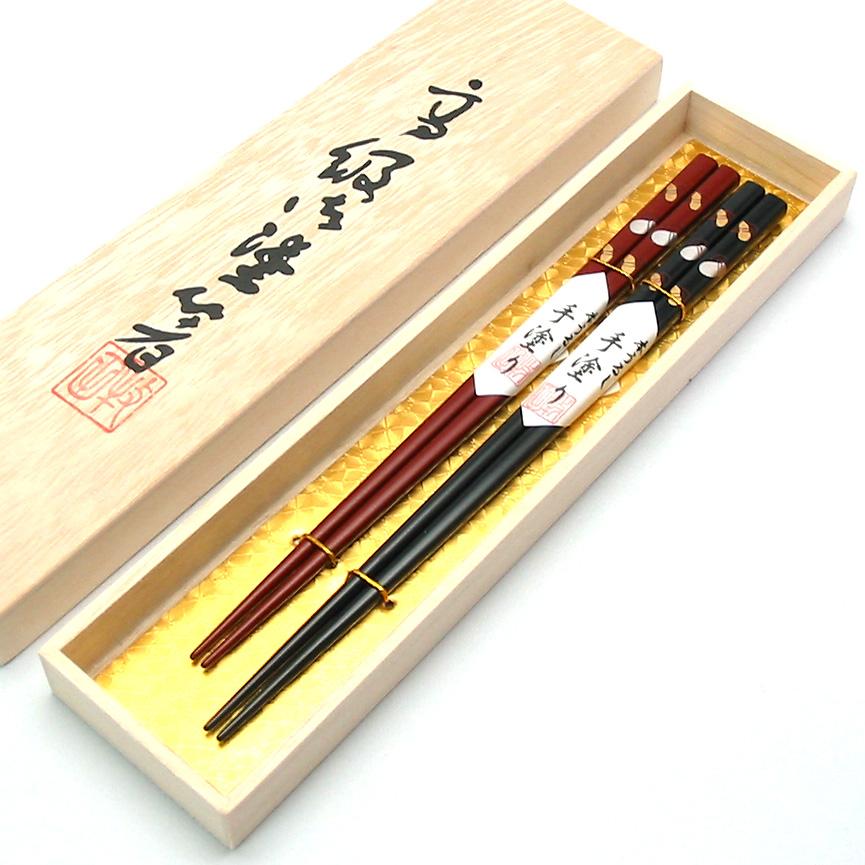 夫婦箸 六ひょうたん蒔絵 木箱入 木製漆塗り 漆器の井助