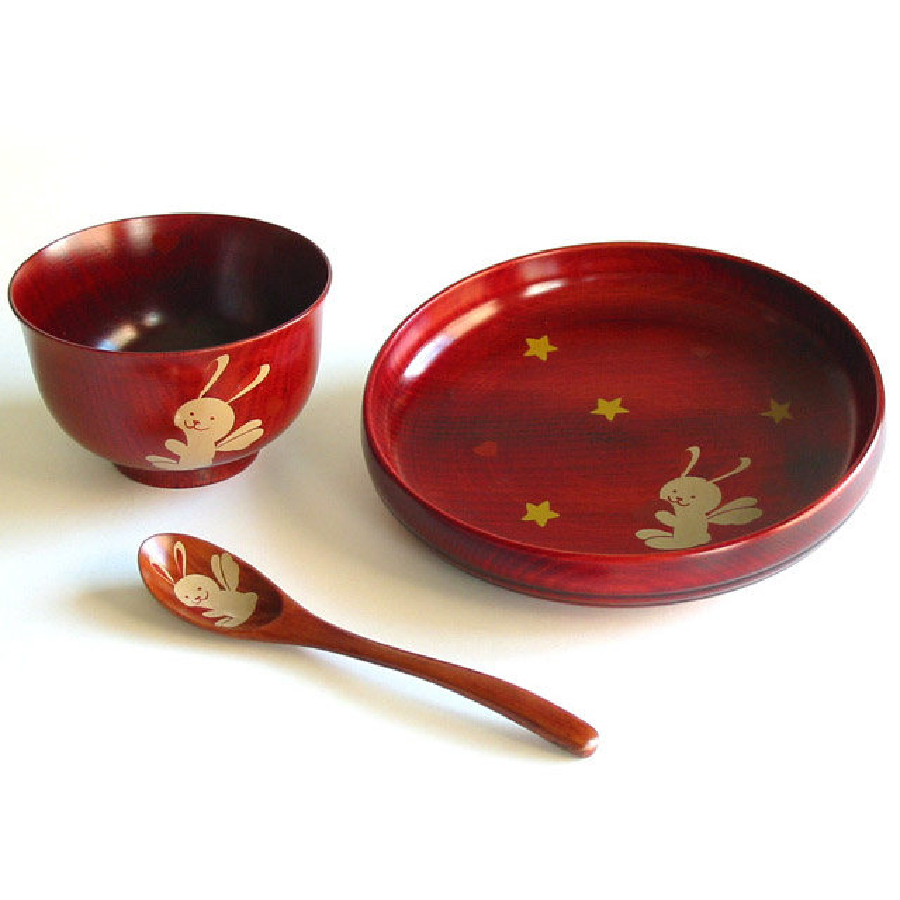 お子様向け・子供用の漆器 アニマル柄食器セット 木製 漆塗り 京都 漆器の井助