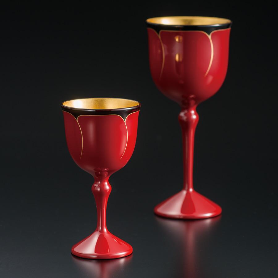ワインペアカップ 花ライン内金箔 木製 漆塗り