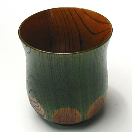 湯呑み 欅 漆切子 木製 漆塗り