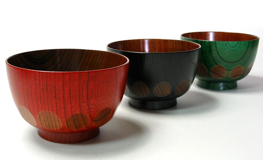 汁椀 欅 漆切子 木製 漆塗り 木のお椀・味噌汁椀
