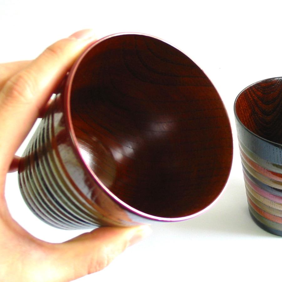 フリーカップ 独楽文様 欅 木製 漆塗り