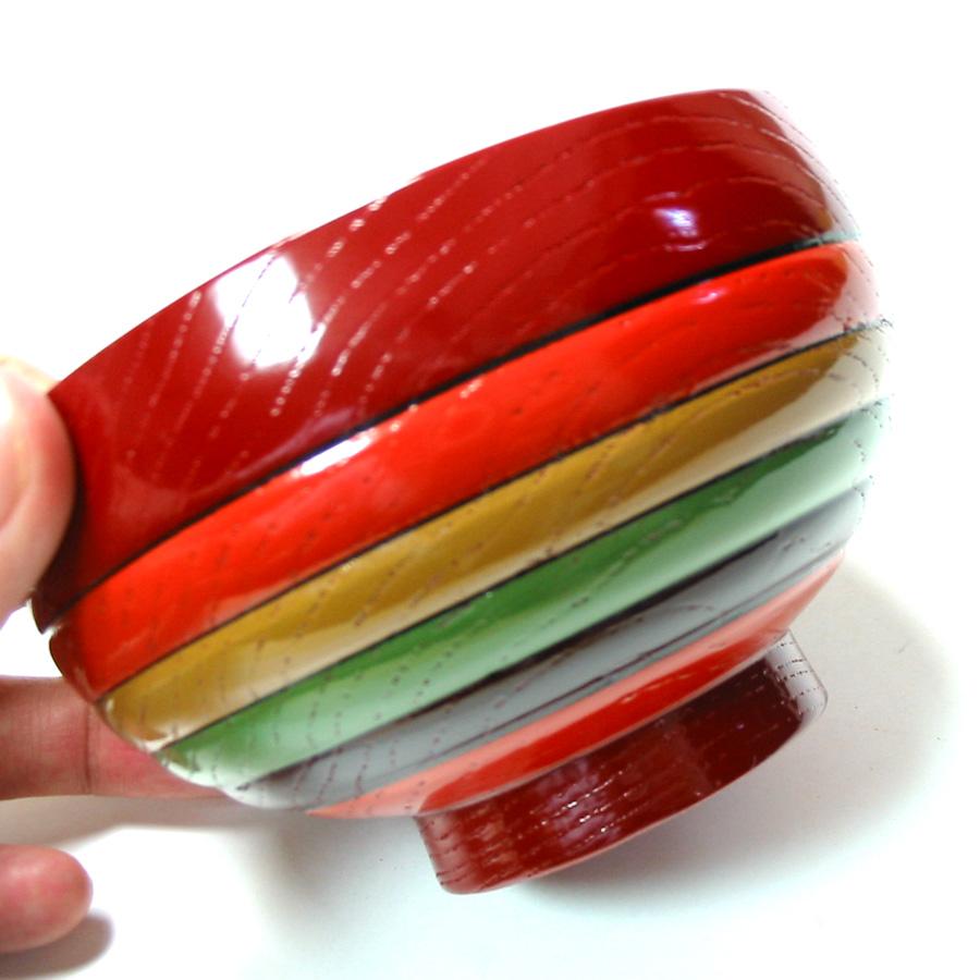 汁椀 目はじき 独楽文様 木製 漆塗り 木のお椀・味噌汁椀