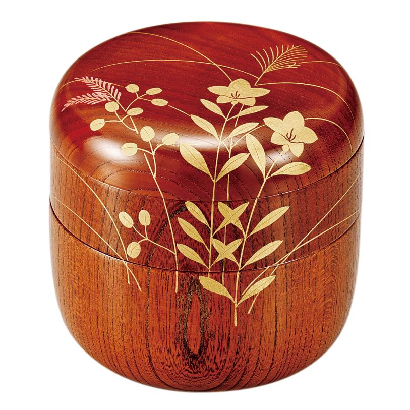 信玄弁当 箔絵秋草 【送料無料】 木製 漆塗り