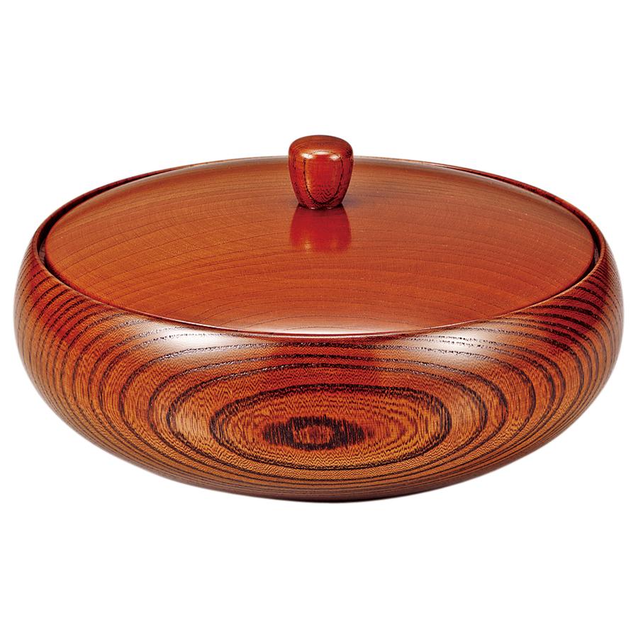 菓子器 7.0 平安 【送料無料】 木製 漆塗り 蓋付き鉢