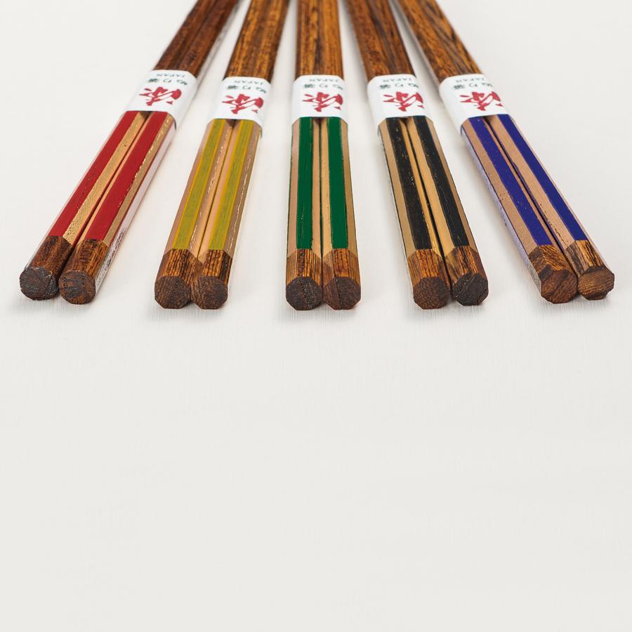 箸 欅八角 塗分金箔 赤/黒/緑/黄/紫 木製 漆塗り