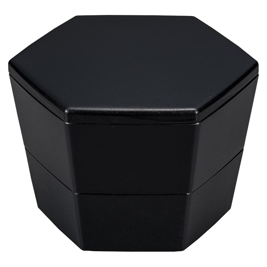 6六角入子重箱 乾漆調 朱/黒