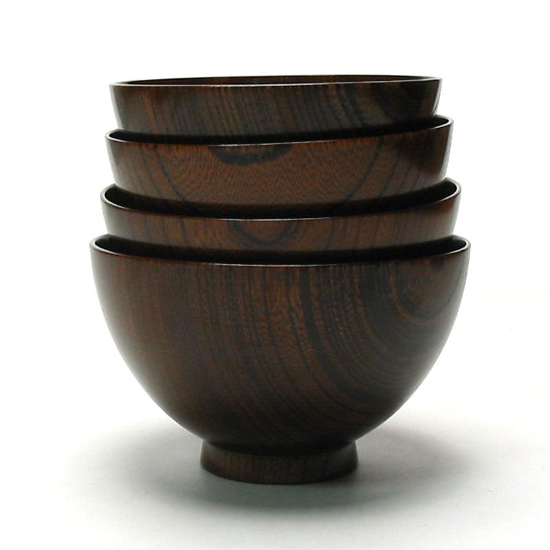 けやき汁椀 拭き漆 4.2寸 木製 漆塗り 木のお椀・味噌汁椀