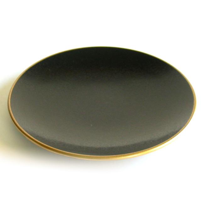 丸盛皿 タタキ黒渕金 中皿 漆器の井助