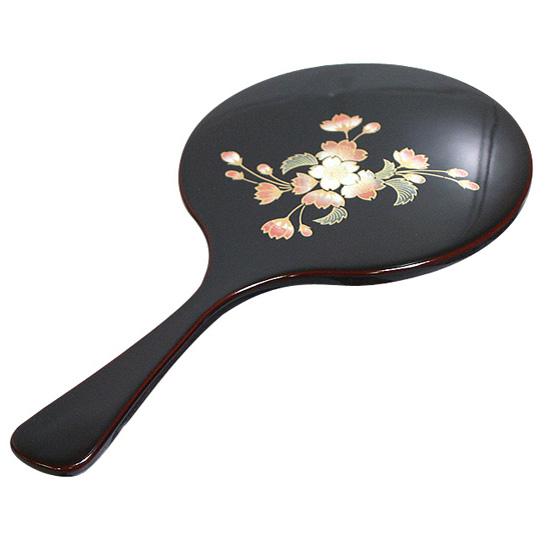 手鏡 溜  京都 漆器の井助  漆塗りハンドミラー