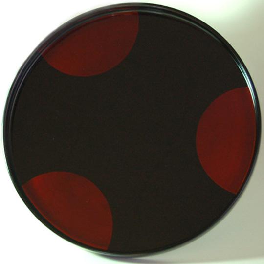 丸盆 日月白檀 漆塗り 漆器の井助