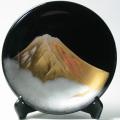 飾り皿 黒 金富士山